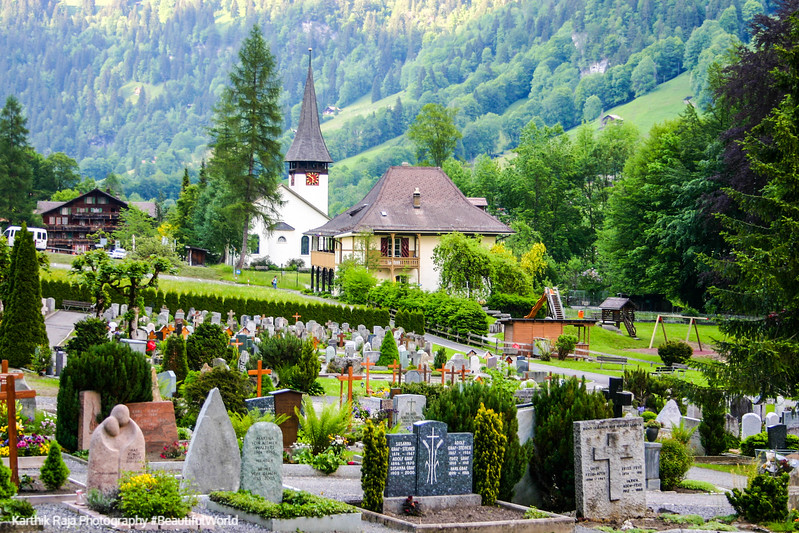 The cemetery at Lauterbrunnen, Switzerland