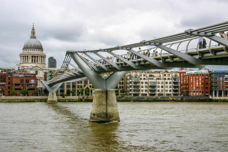 Millennium Bridge, St. Paul's Cathedral, London, England