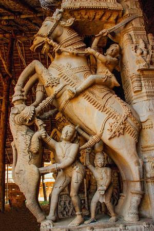 Intricate horse carving, Sri Ranganathaaswami Temple, Srirangam,