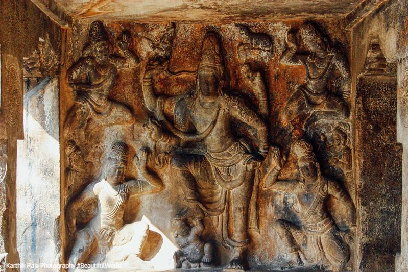 Pallava cave carving of Gangatharamoorthy, Rock Fort, Tiruchirap