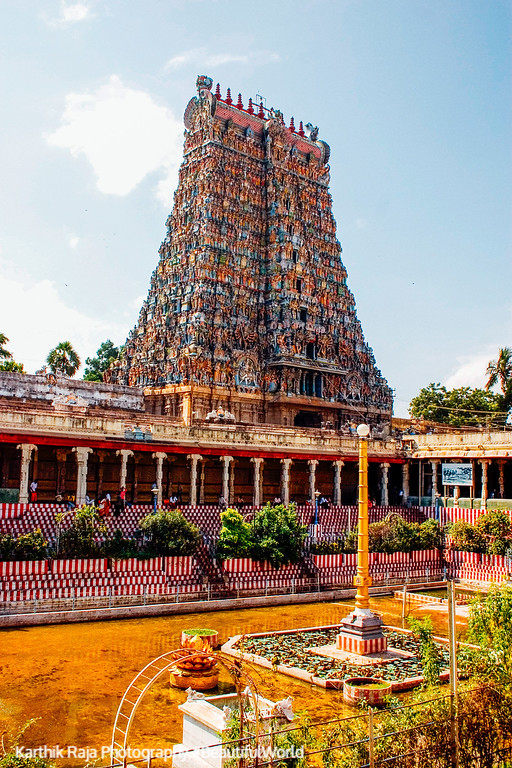 South Gopuram with the Golden Lily Tank, Meenakshi temple, Madur