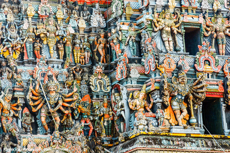 Gopuram sculptures, Meenakshi temple, Madurai, India