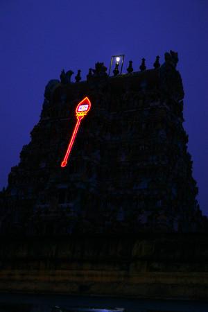 It is Vel lit up at night, Thirupanakundram, Madurai