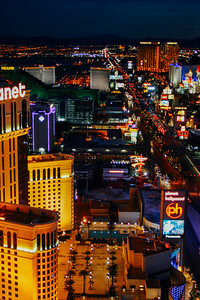 South Strip later at night, Las Vegas, NV