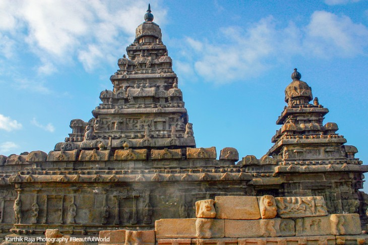 View of Shore Temple, Mahabalipuram, Tamil Nadu, India