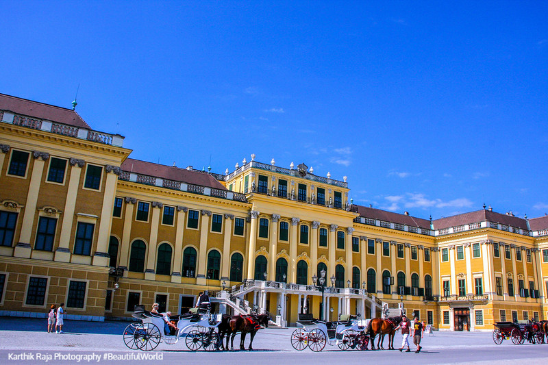 Vienna - Schönbrunn Palace; front facade - painted by Canaletto