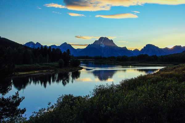 Grand Teton National Park, Wyoming - sunset at Oxbow bend