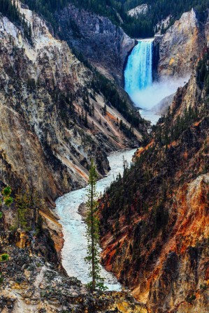 The Upper Falls and the Yellowstone River - Yellowstone National