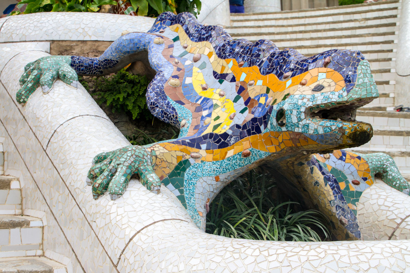 "Salamander, popularly known as ""el drac"" (the dragon), Park Guel"