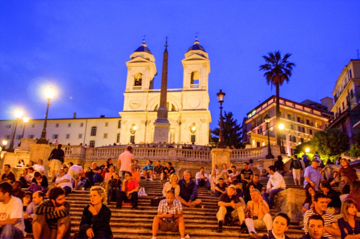 The Piazza di Spagna - Spanish Steps with the Church of the Trin