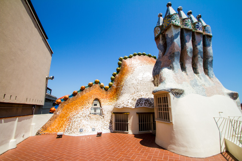Roof Terrace, Casa Batllo, Gaudi, Barcelona, Spain