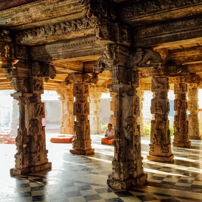 Morning silence, Ornate Vijayanagara style open mantapa (hall),