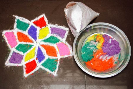 'Kolam' or 'Rangoli' is a decorative design that is put in all Indian houses. You will usually see them before entering any Indian home. Tradiationally the kolams are put not only at the entrances to houses but also on the table underneath your plate while eating, near the idols and on kitchen counters. Kolams are made from rice powder, thus it was believed that ants will come and feed of the rice powder and thus will not eat your food or enter your house. This was the original reason for putting kolams. Over the years the practice has developed into an art form with people using it to exhibit their creative side. Rangoli competitions are a common sight in school exhibitions and it requires a lot of skill to make one.