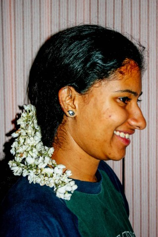 A girl with flowers in her hair is common lyrics in many songs. However in india it is a tradition. Across India you will find women adorning themselves with flowers. Husbands usually buy flowers for their wives and they in turn wear them proudly. This is no longer practiced as India becomes westernized but still in all religious functions, women are expected to have flowers in their hair. The most common flower is Jasmine.
