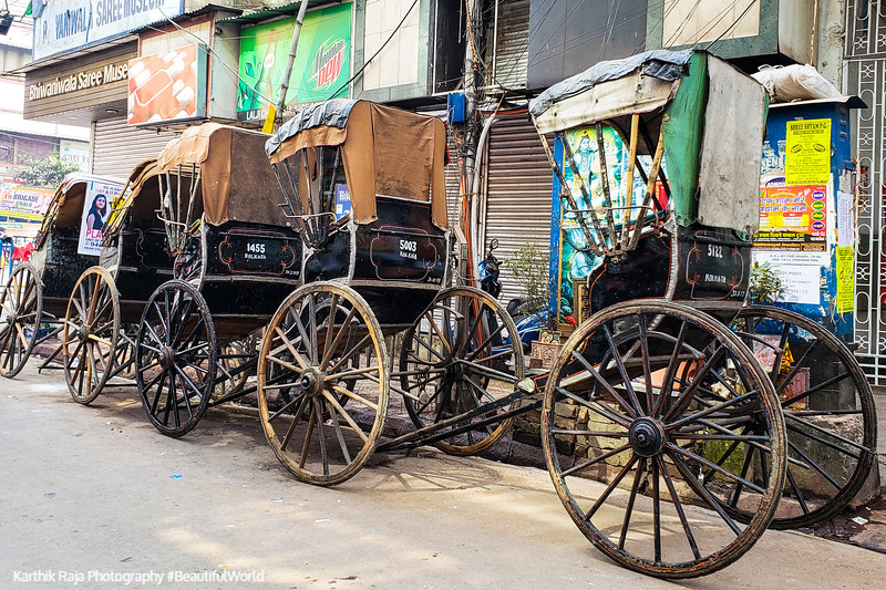 Hand drawn cycle rickshaws, Kolkata, India