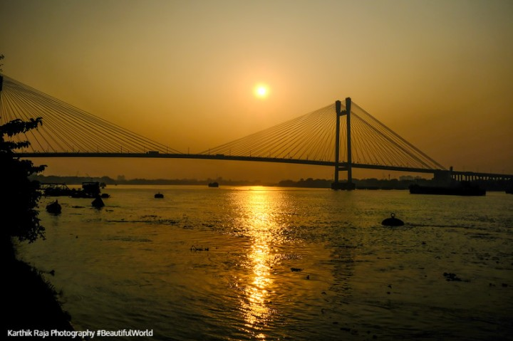 Sunset, Vidyasagar Setu, Bridge, James Prinsep Ghat, Kolkata, In