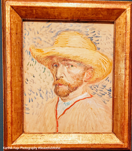 Self Portrait with Straw Hat 1887 by Van Gogh, Van Gogh Museum,