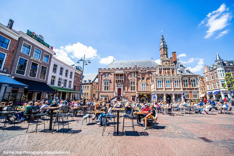 Cafes, Grote Markt, Old Center, Haarlem, Netherlands